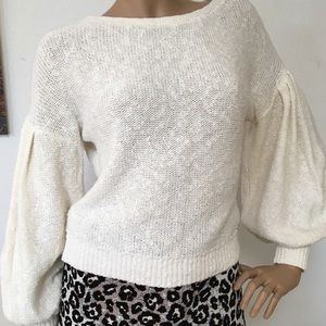 Abercrombie Fitch Cotton Puff Sleeve Sweater S